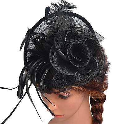Valdler Womens Feather Mesh Net Sinamay Fascinator Hat with Hair Clip Tea Party