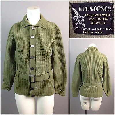 Vintage 1950s 60s Green Lambswool Knit Belted Cardigan Sweater Jacket M