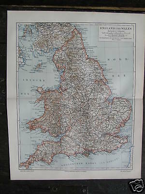 Antique print map England and Wales UK 1904 a15