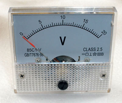DC 20V Analog Panel Voltmeter Volt Voltage Meter Gauge 85C1 Class 2.5 DC 0-20V