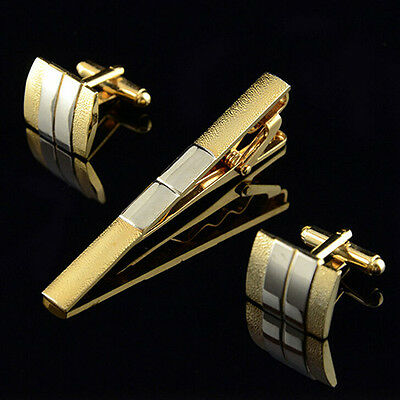 Classic Silver And Gold Coloured Cufflinks and Tie Clip Bar Set