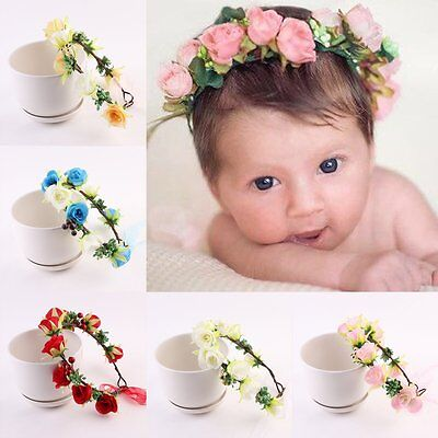 Kids Baby Infant Girl Cute Flower Crown Headband Hair Band Headwear Accessories
