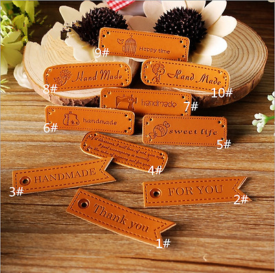 10pcs PU Leather Labels patch craft Flowers bag girl candy pattern DIY Handmade