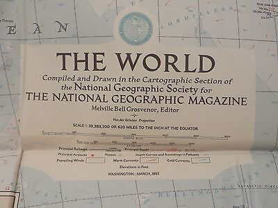 "Vintage March 1957 National Geographic Map ""The World"""