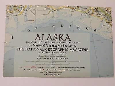 "Vintage March 1956 National Geographic Map ""Alaska"""