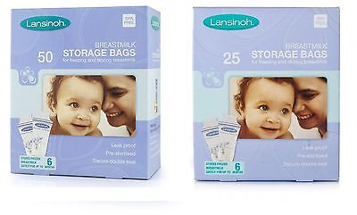 NEW Lansinoh Breastmilk Milk Storage freezer Bags pre sterilised  50 or 25 pack