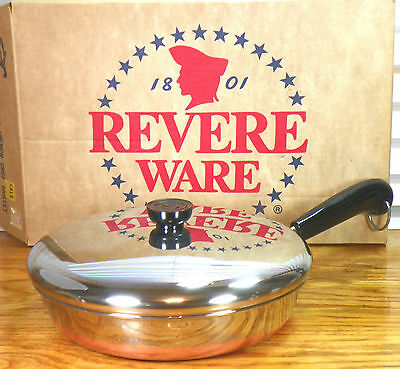 "PERFECT New in Box Copper Clad Bottom Revere Ware 10"" Skillet Pan NOS NIB NIP"