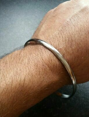 Stunning Chrome Plated Smooth Plain Sikh Khalsa Kara Kada Bracelet Bangle ZZ8