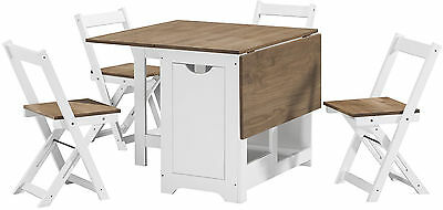 Santos Dining Table Folding Drop Leaf Butterfly Dining Sets With Table 4 Chairs
