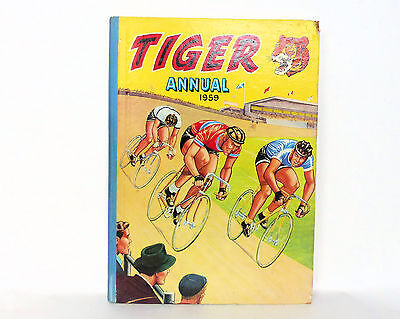 Vintage 1959 TIGER ANNUAL Book Hardback for Boys Issued by Fleetway House