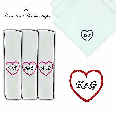 29cm LADIES PERSONALISED HANDKERCHIEF HANKIE INITIALS LOVE HEART EMBROIDERED