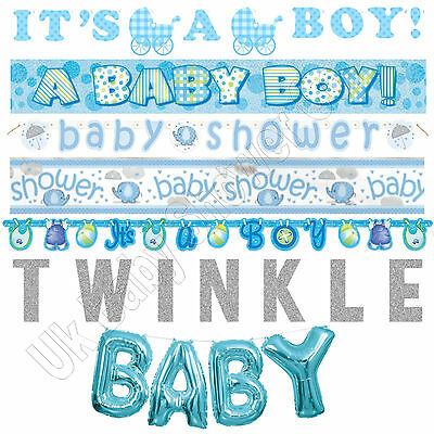 BABY SHOWER BANNERS - Blue Boy Decorations,Foil,Jointed,Ribbon,Garlands,Giant