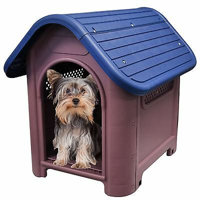 Plastic Dog Kennel Puppy Pet Home House Shelter Weatherproof Roof Flat Packed