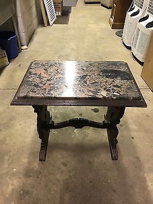 Unique Vintage Rectangular Coffee End Table With Removable Marble Top