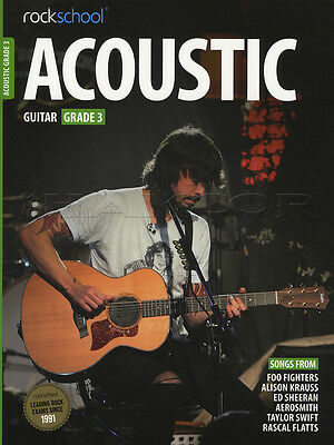 Rockschool Acoustic Guitar Grade 3 TAB Music Book with Audio Access Tests Exams