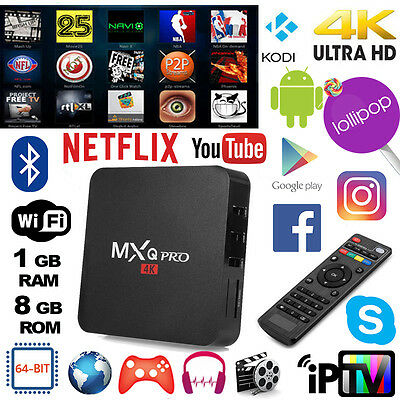 MXQ PRO 4K Smart IPTV BOX XBMC/Kodi Android 5.1 Penta Core 64bit WiFi 8GB MiniPC