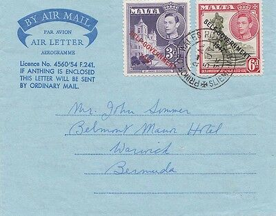 Malta 1955 Air Letter from Prince Of Wales Road and Sent to Bermuda