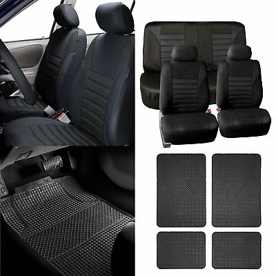 Combo Black Auto Seat Covers Set with Black Floor Mats for Car SUV