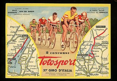 Bicycle Bike postcard Italy Bike Race Totosport w/ map of route Vintage
