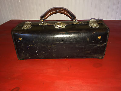 Antique Doctors Medical Bag with Apothecary Bottles