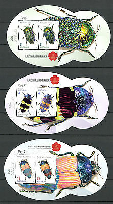 Australia 2016 MNH Jewel Beetles China Stamp Show Day 1-5 5x M/S Insects Stamps