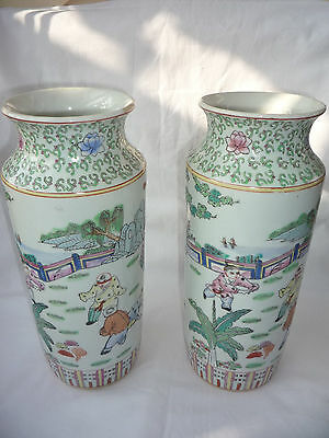 Pair of  Chinese Porcelain Pottery Hand Painted Boys Play in Garden Vases