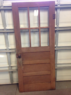 "Antique Vintage 3 Panel Solid Wood House Door w/6 Window Panes  34"" x 79 3/4"""
