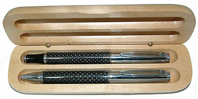 Emperor Carbon Fiber Ball and Roller Ball Pen in Maple Wood Box