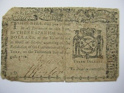 New York Colonial Currency, $3, August 13, 1776, Very Good