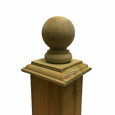 """Pressure Treated Wood Provincial Ball Post Cap for 4"""" x 4"""" Fence and Deck Posts"""