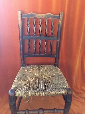 Georgian Style Elm Framed Bobbin Backed Country Dining Chair (2)