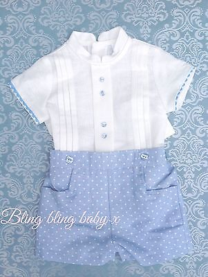 Baby Boys Spanish Traditional Romper Shirt Shorts Outfit Set Romany 6-12  Months