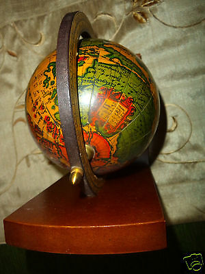 Vintage Zodiac Horoscope World Globe Map Rotating Map old-style stand.