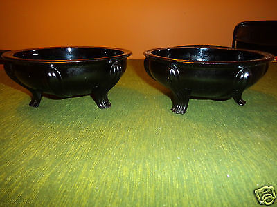 2 Footed Black Porcelain French Onion Soup Crocks Bowls serving Dishes earthenwr