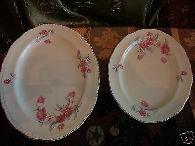 "Vintage Woods & Sons 2 Oval Ivory China Serving Platters- 13""L X 8' W.England"