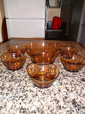 6 Glass Fruit Salad Serving set For Buffet Relish,Sweets,Sugar,Appetizers,Amber