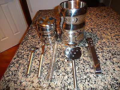 Bar Set Seven pieces Silver Plated ice serving bucket and accessories