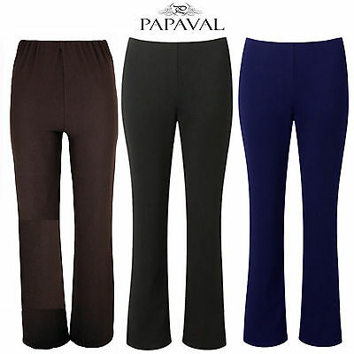 PAPAVAL WBT Ladies Womens Boot Cut Leg Stretch Elasticated Trousers Waist Size