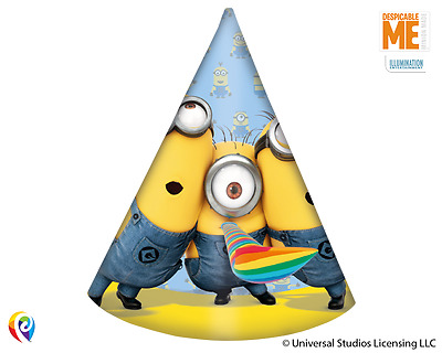 Lovely Minions 6 Paper Hats Children Birthday Party Colourful