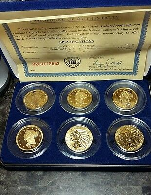 America's 24kt Gold Clad $5 Mint Mark Coin Tribute Proof Collection