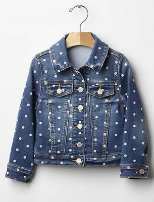 GAP Baby / Toddler Girls Size 12-18 Months Blue Polka Dot Jean Denim Jacket Coat