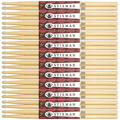 12 Pairs Of Stixman Maple 2B Nylon Tipped Drum Sticks - Drumsticks - Sxm2Bn12