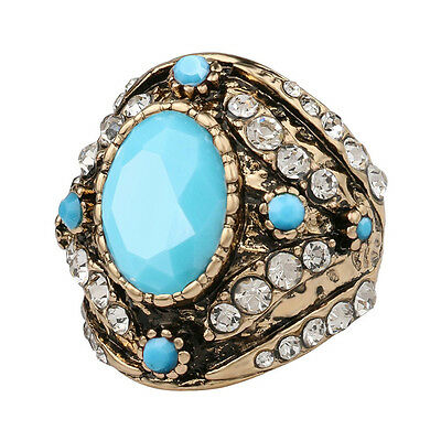 Antique Vintage Hurrem Style Ancient Gold CZ Agate Women's Large Fashion Ring US