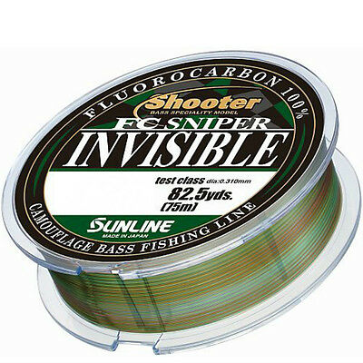Sunline SHOOTER FC Sniper Invisible Camo  100% Fluorocarbon 75m - Choose Size