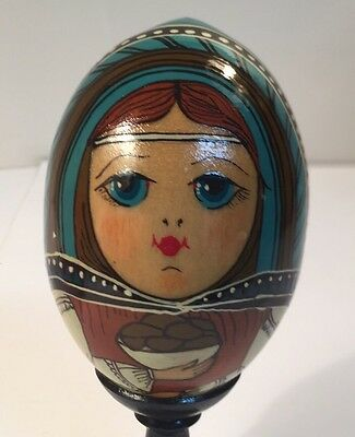 Antique Russian Hand Painted Folk Peasant Art Wood Easter Egg