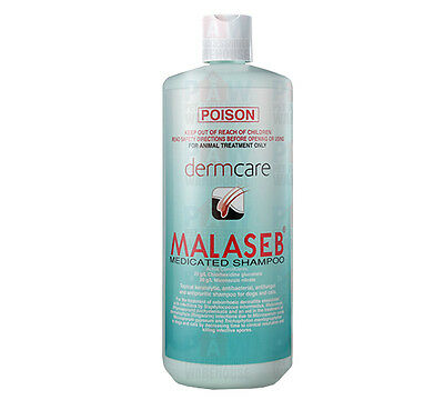 Dermcare Malaseb Medicated Shampoo 1L Dog Dermatitis Allergies Fleas Mite 1000ml