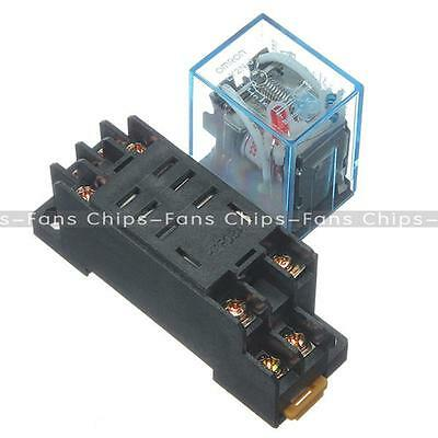New 12V DC Coil Power Relay LY2NJ DPDT 8 Pin HH62P JQX-13F With Socket Base