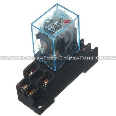 New 10A AC 220V Coil Power Relay DPDT LY2NJ HH62P HHC68A-2Z With Socket Base