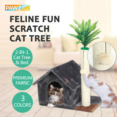 Cat Scratching Post Tree Activity Center Kitten Gym House Furniture Fun Play Toy