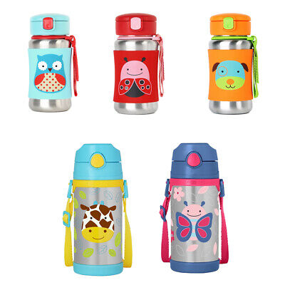Skip Hop Kids Zoo Stainless Insulated Straw Water Bottle - Keep Cold Only